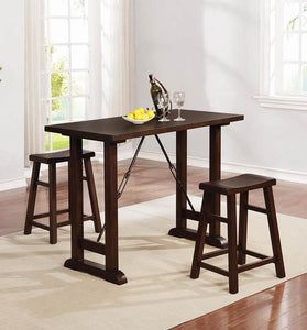 Coaster Tavares 3 Piece Honey Acacia Counter Height Table Set