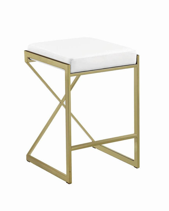 White Faux Leather Upholstered Counter Height Stool