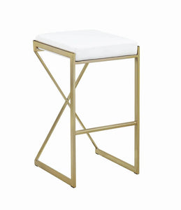 "Coaster White Faux Leather Upholstered 30"" Square Counter Height Stool"