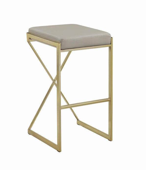 Coaster Taupe Faux Leather Upholstered Square Bar Stool