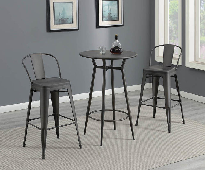 Coaster Lex Industrial Bronze Finish 3 Piece Round Bar Table Set