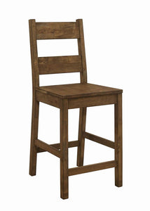 Homy Living Coleman Rustic Oak Wood Finish 2 Piece Counter Height Chair