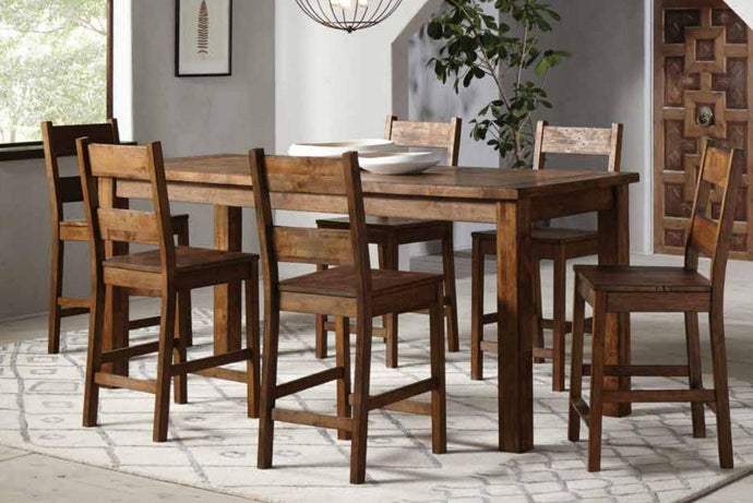 Coaster Coleman Rustic Rectangular 7 Piece Counter Height Table Set