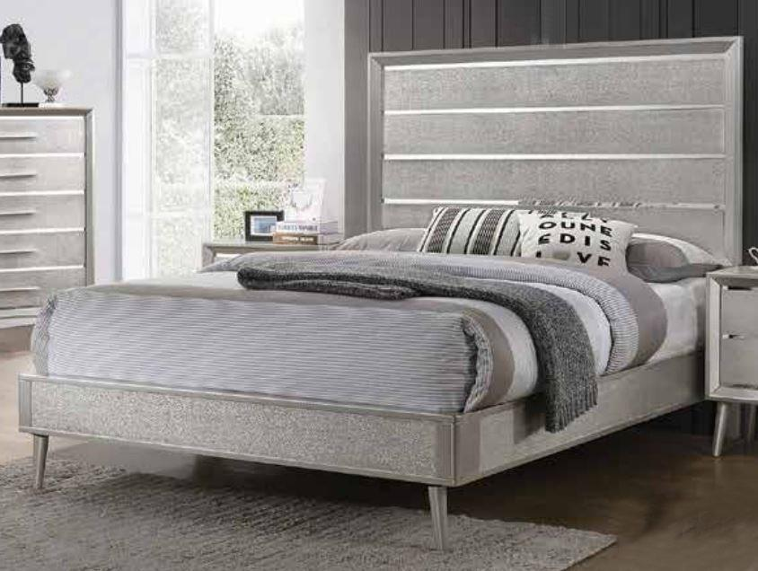 Homy Living Ramon Metallic Sterling Wood Finish Queen Bed