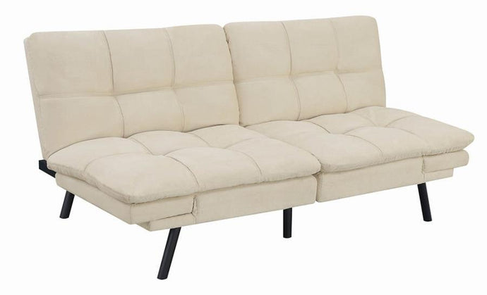 Homy Living Beige Chenille And Wood Finish Sofa Bed