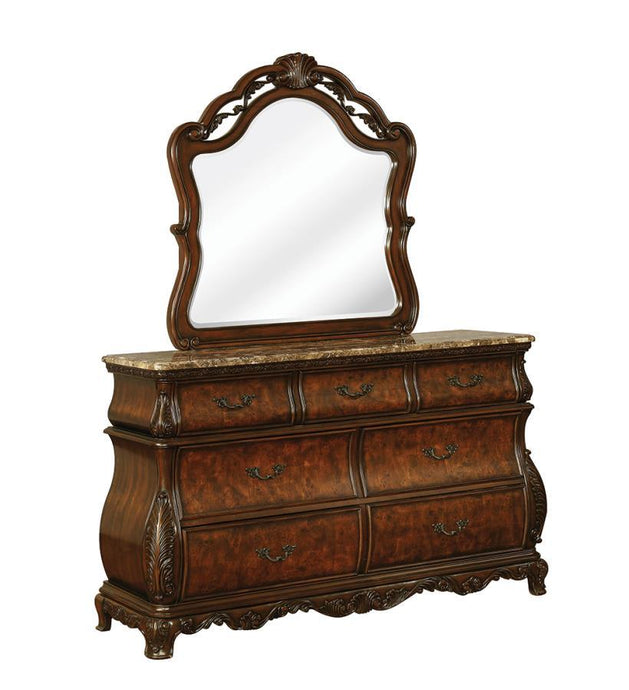 Homy Living Cherry Wood Finish Dresser With Mirror