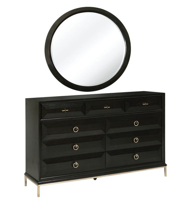 Homy Living Farmosa Brass Wood Finish Dresser With Mirror