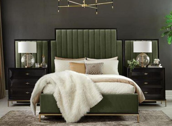 Homy Living Farmosa Green Fabric Finish Queen Bed With Wall Panel