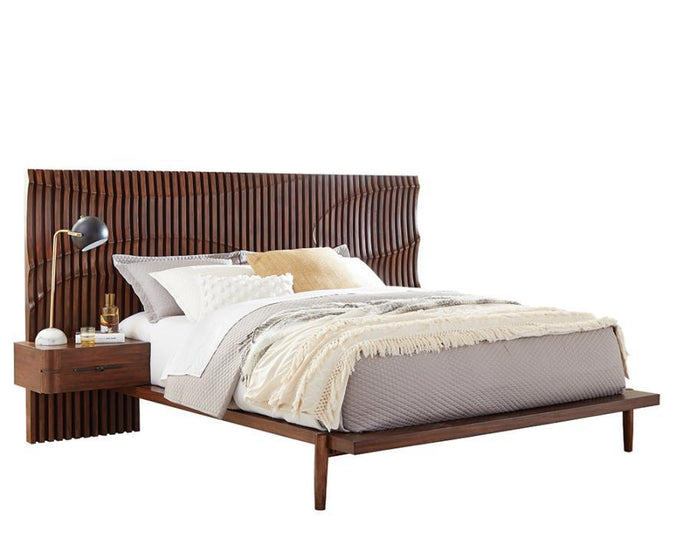 Homy Living San Mateo Brown Wood Finish Queen Bed