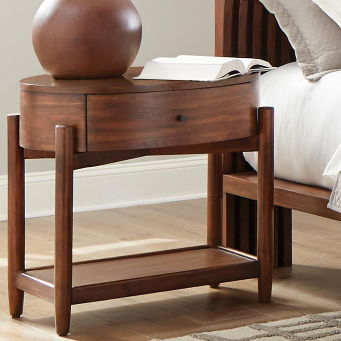 Homy Living San Mateo Brown Wood Finish Nightstand