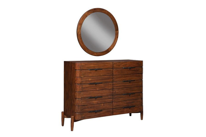Homy Living San Mateo Brown Wood Finish Dresser With Mirror