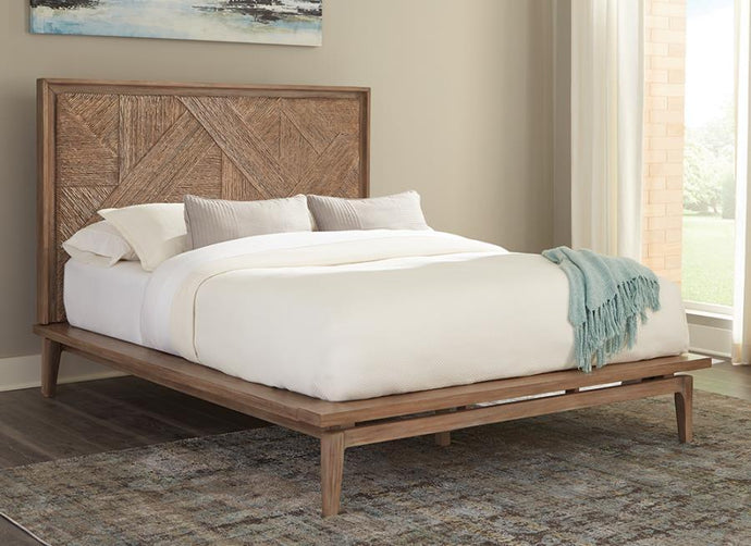 Homy Living Vanowen Brown Wood Finish Queen Bed