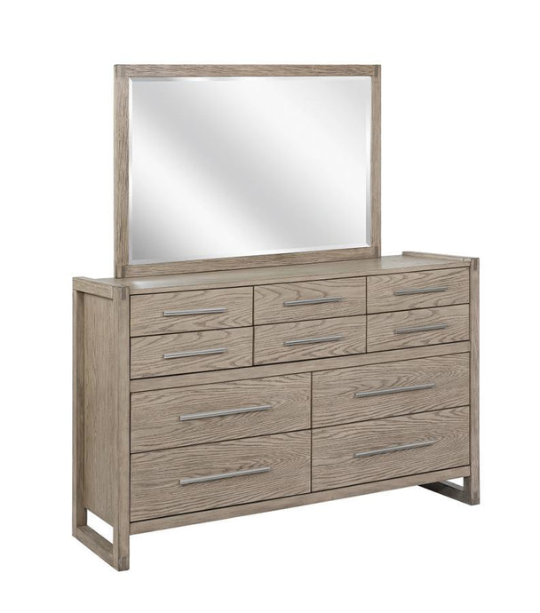Homy Living Smithson White Oak Wood Finish Dresser With Mirror