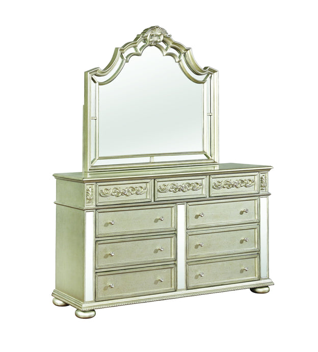 Homy Living Heidi Silver Wood Finish Dresser With Mirror