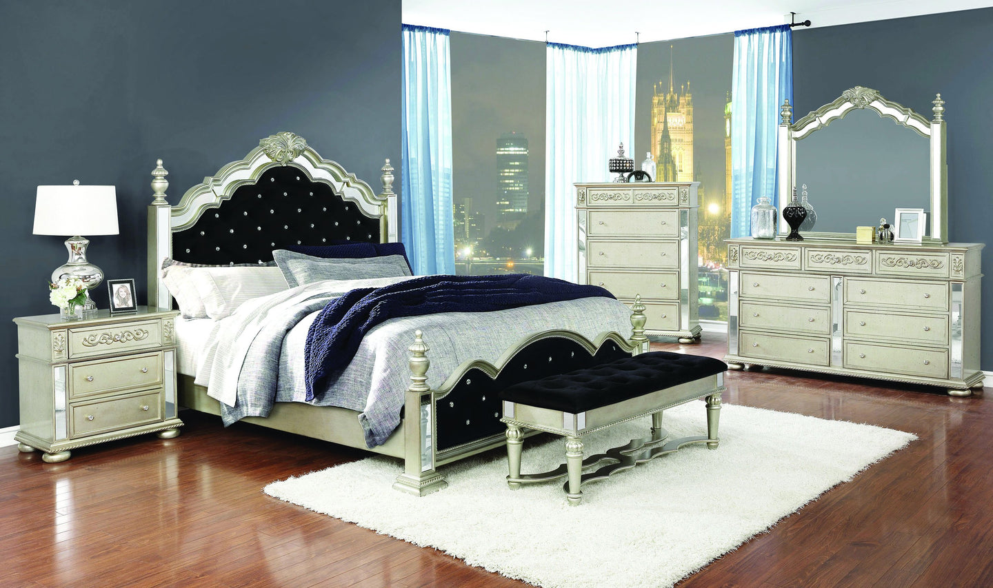 Homy Living Heidi Silver And Black Wood Finish 4 Piece Eastern King Bedroom Set