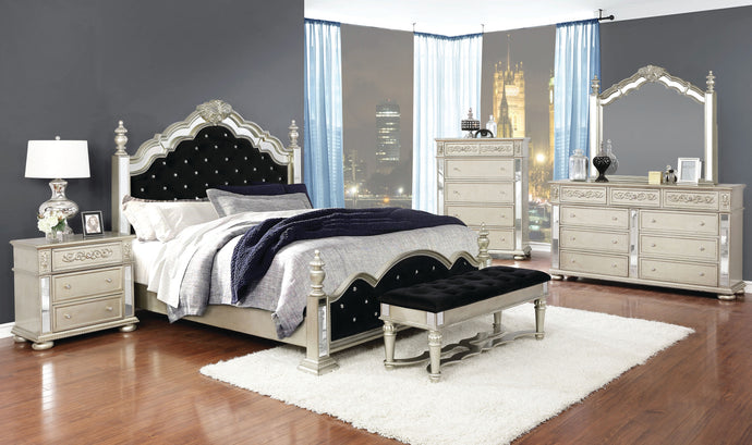 Coaster Heidi Silver And Black Wood Finish 4 Piece Eastern King Bedroom Set