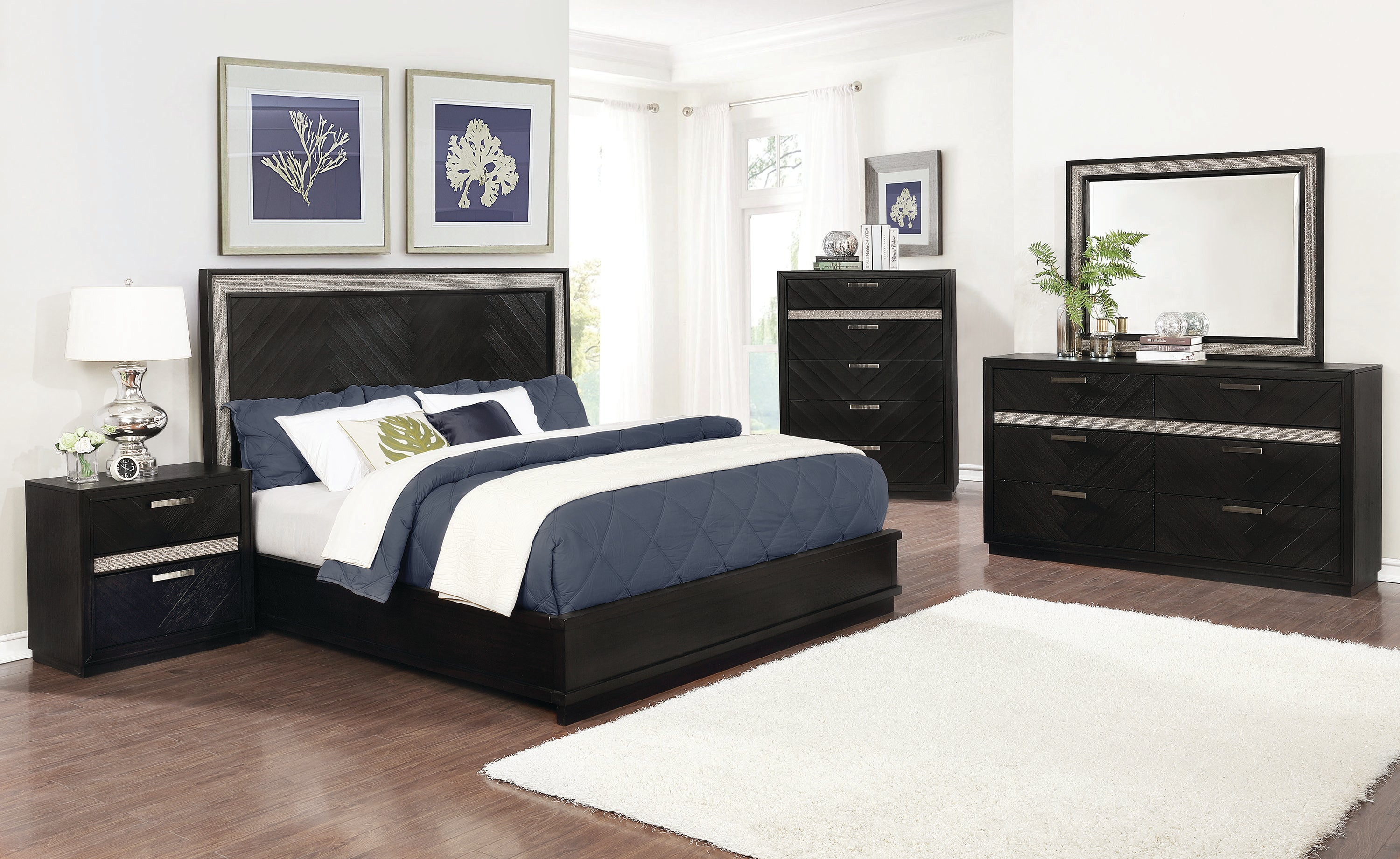 Coaster Chula Vista Dark Oak Wood Finish 4 Piece Eastern King Bedroom Set