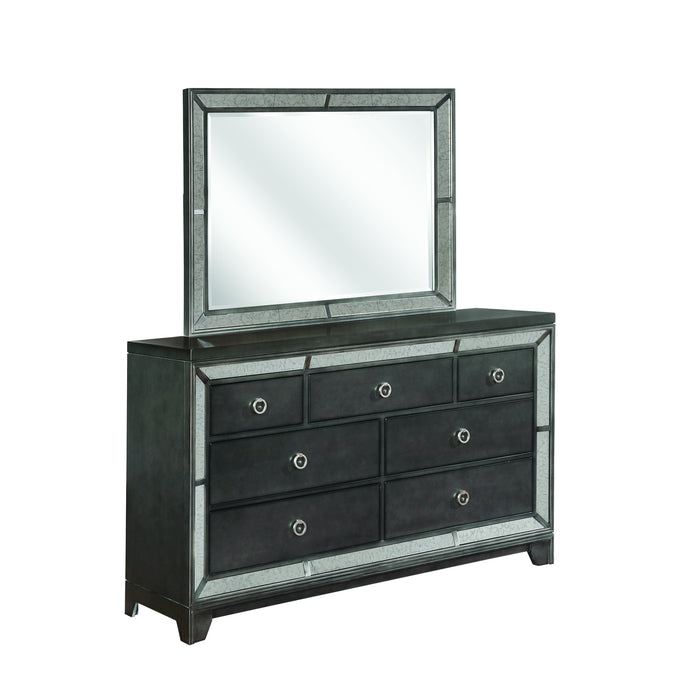 Homy Living Morro Bay Gray Wood Finish Dresser With Mirror