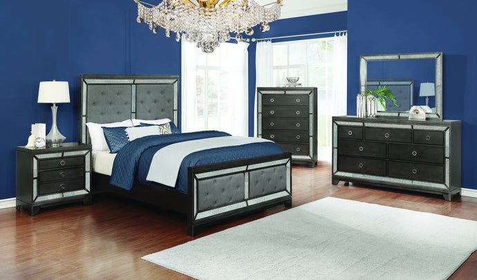 Homy Living Morro Bay Gray Wood Finish 4 Piece Eastern King Bedroom Set