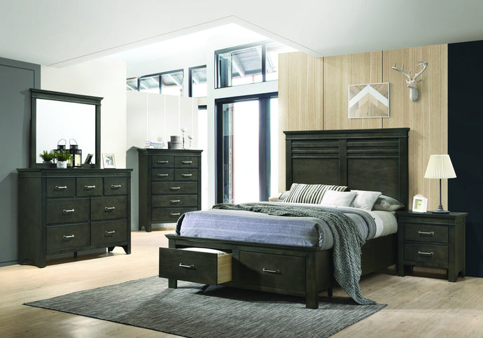 Homy Living Newberry Dark Brown Wood Finish 4 Piece Queen Bedroom Set