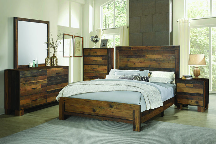 Homy Living Sidney Natural Wood Finish 4 Piece Twin Bedroom Set