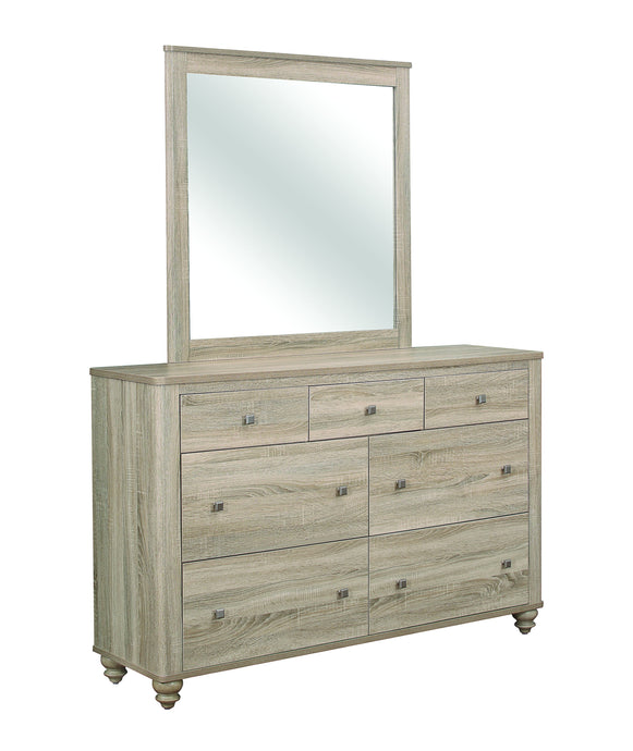 Homy Living Wenham Natural Oak Wood Finish Dresser With Mirror