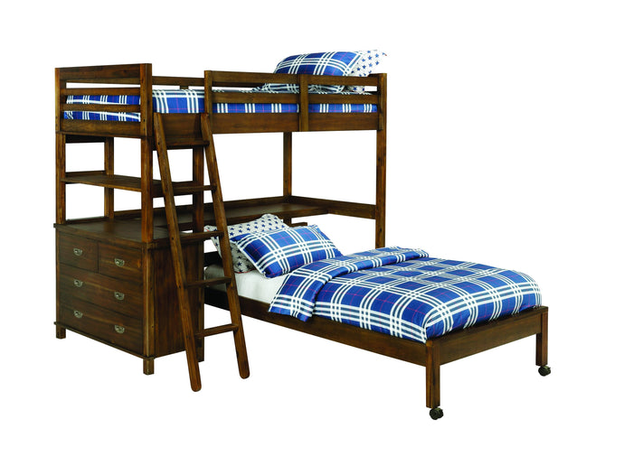 Homy Living Bernhardt Brown Wood Finish Twin Over Twin Loft Bed