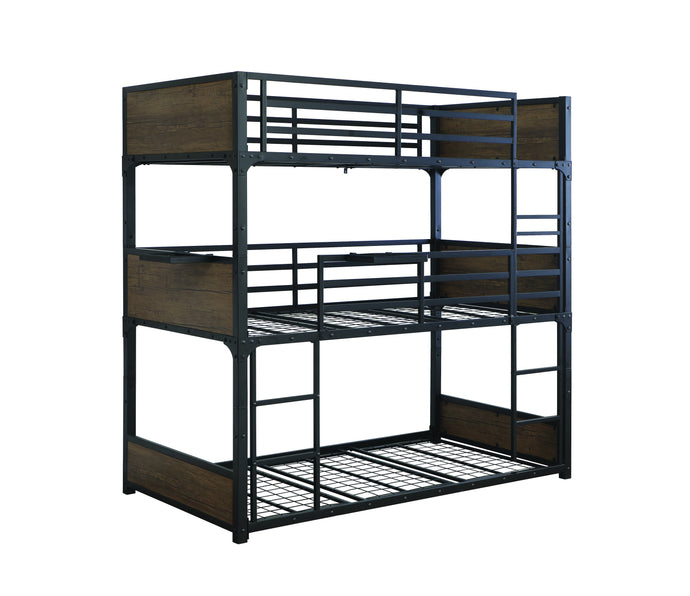 Homy Living Nickerson Black Metal Finish Triple Twin Bunk Bed