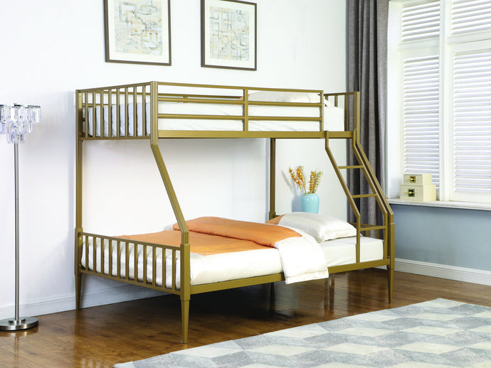 Homy Living Kidron Gold Metal Finish Twin Over Full Bunk Bed