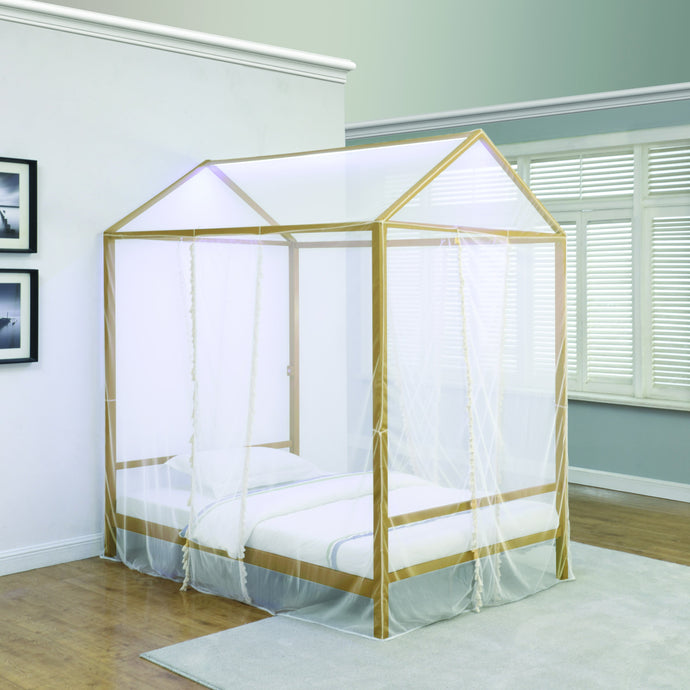 Homy Living Altadena Gold Metal Finish Full Canopy Bed