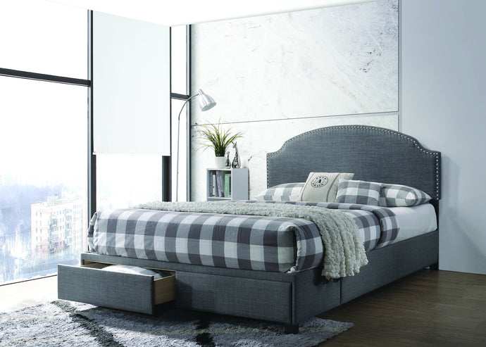 Homy Living Niland Charcoal Wood And Fabric Finish Queen Bed