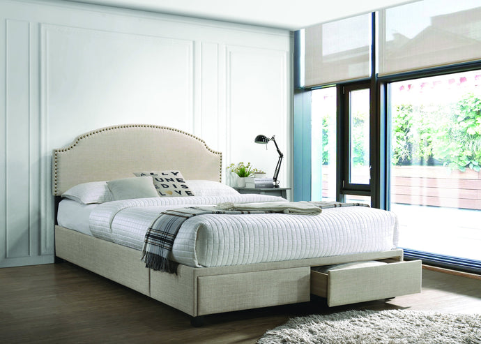 Homy Living Niland Beige Wood And Fabric Finish Queen Bed