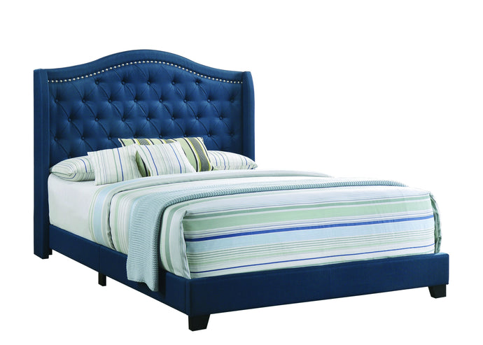 Homy Living Sonoma Blue Fabric And Wood Finish Queen Bed