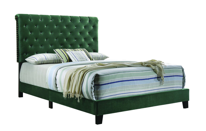Homy Living Warner Slate Green Wood And Velvet Finish Full Bed