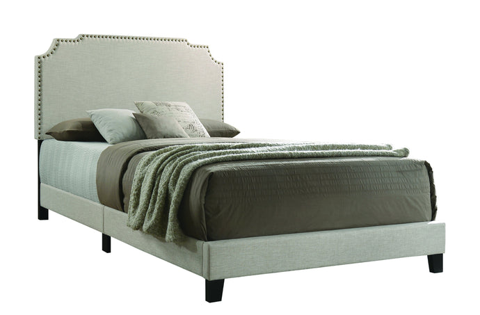 Homy Living Tamarac Beige Fabric And Wood Finish Eastern King Bed