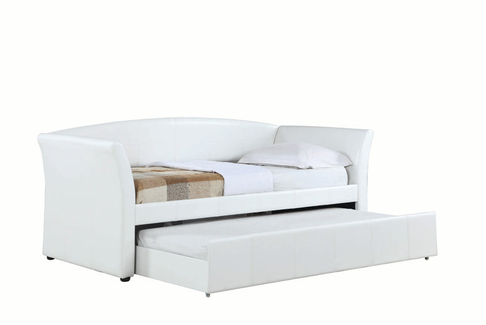 Coaster White Leather And Wood Finish Twin Daybed With Trundle