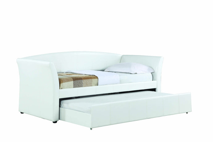 Homy Living White Leather And Wood Finish Twin Daybed With Trundle