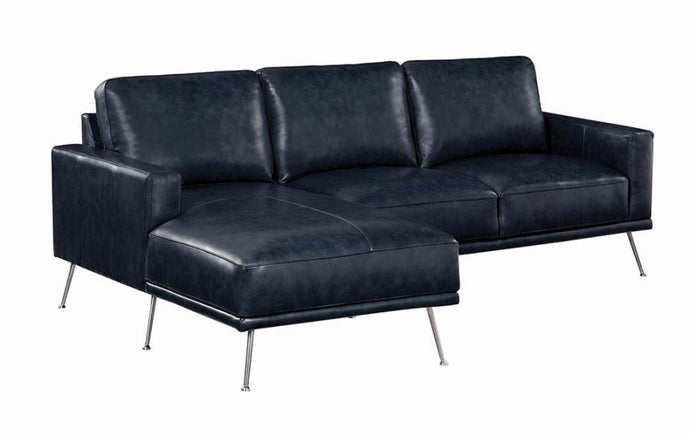 Coaster Narrot Blue PU Leather Finish Sectional Sofa