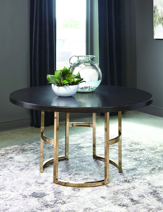 Homy Living Benton Brown And Brass Wood Finish Dining Table