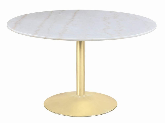 Homy Living Steele White And Gold Marble Finish Dining Table