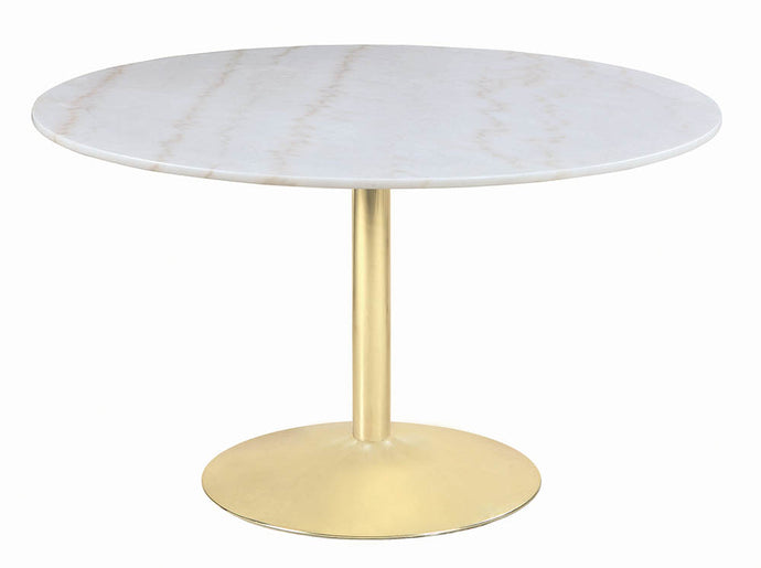 Coaster Steele White And Gold Marble Finish Dining Table