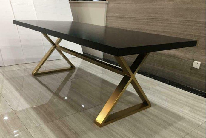 Homy Living Conway Oak Wood And Metal Finish Dining Table