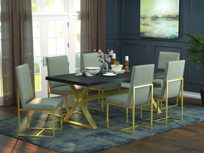 Homy Living Conway Oak Wood And Metal Finish 7 Piece Dining Table Set