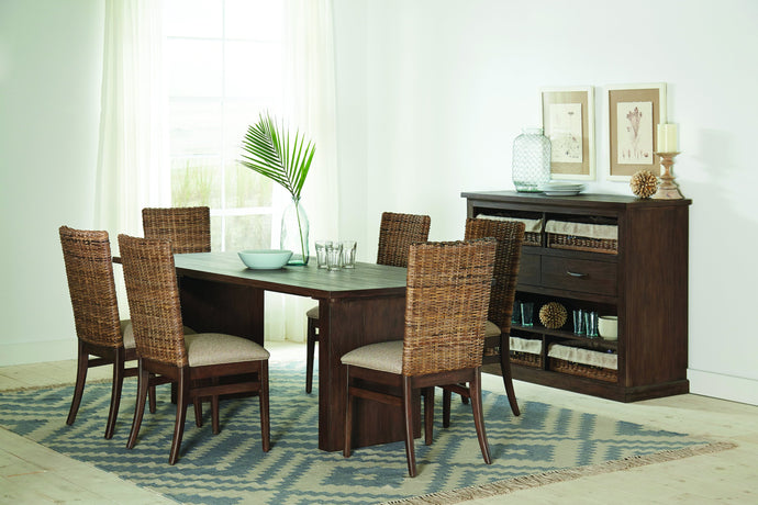 Homy Living Magnolia Mahogany Wood Finish 7 Piece Dining Table Set