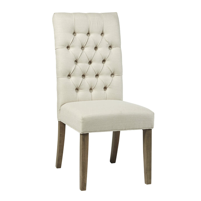 Homy Living Gadsden Beige Wood And Fabric Finish 2 Piece Dining Chair