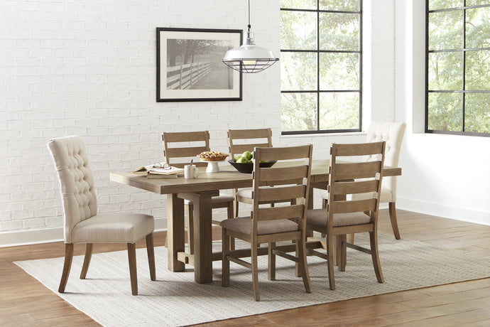 Homy Living Gadsden Natural Wood Finish 7 Piece Dining Table Set