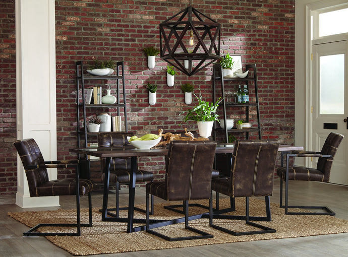 Homy Living Oakville Brown Metal And Wood Finish 7 Piece Dining Table Set