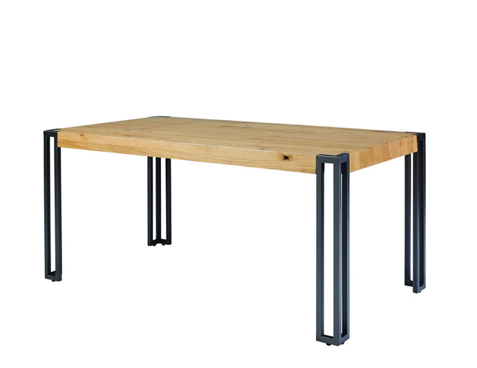 Homy Living Searcy Natural Wood And Metal Finish Dining Table