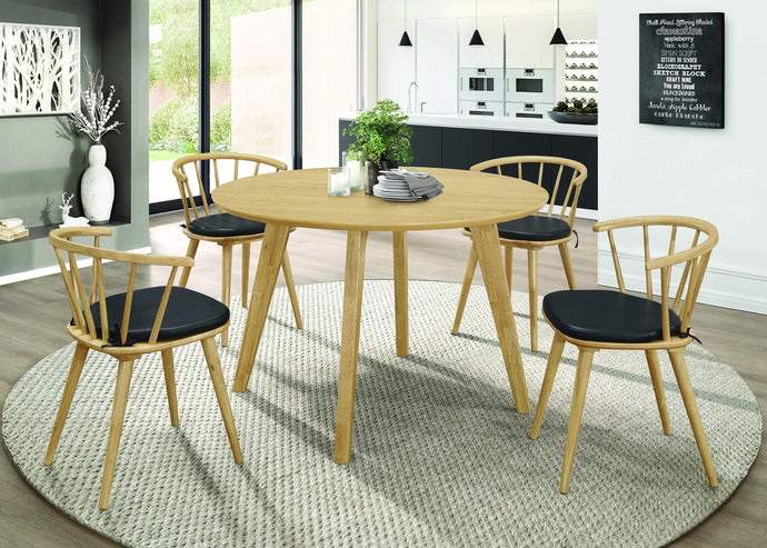 Homy Living Merced Natural Wood Finish 5 Piece Round Dining Table Set