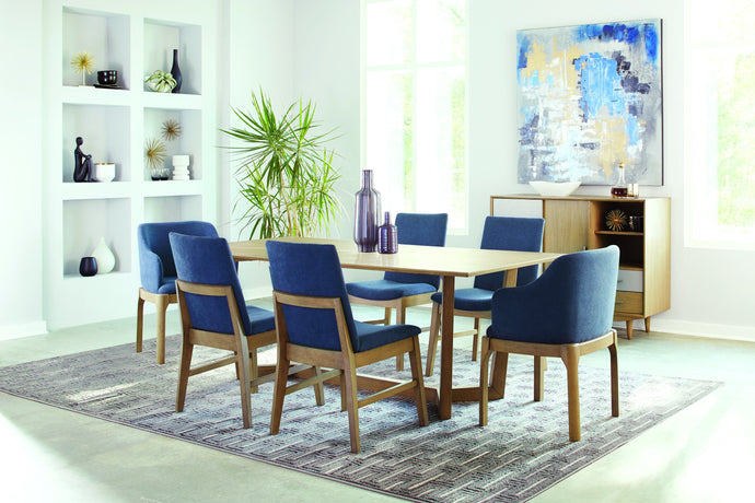 Homy Living Artas Oak Wood Finish 7 Piece Dining Table Set